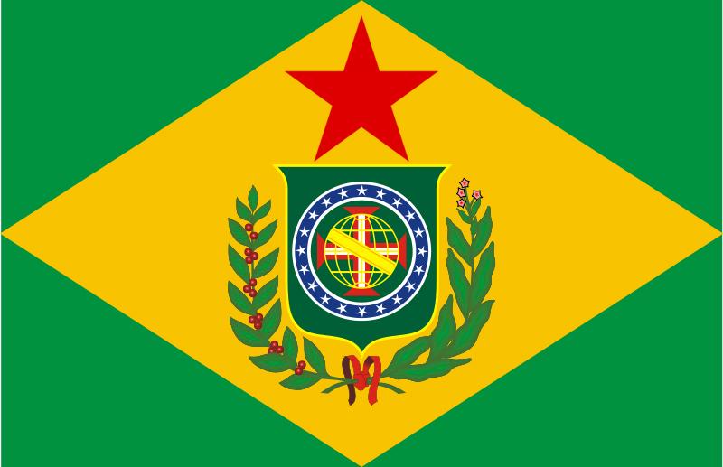 Arte representando como seria a bandeira hasteada no Cruzador Alte. Barroso