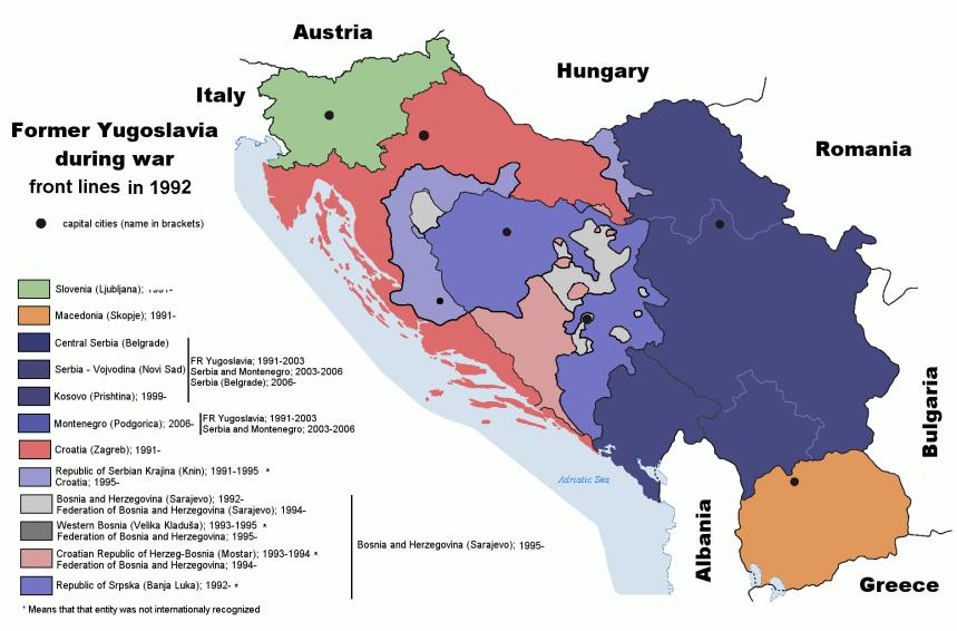 Mapa mostrando a fragmentação territorial na ex-Iugoslávia, especialmente na Bósnia