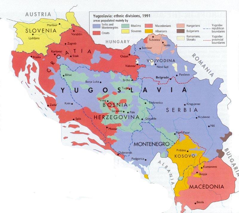 Mapa demográfico da Iugoslávia quando do início do processo de dissolução, em 1991