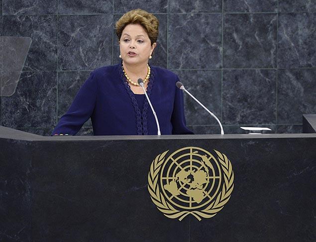 Dilma Roussef, hoje, na Assembleia Geral da ONU Foto: Timothy Clary/AFP