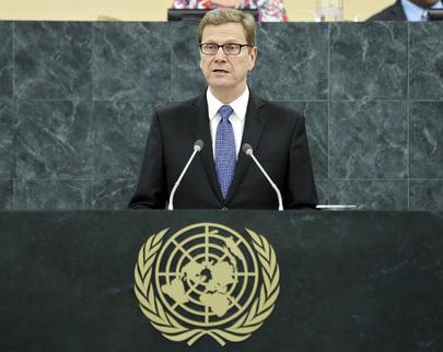 Guido Westerwelle, Ministro de Relações Exteriores da Alemanha, na Assembleia Geral, 28 de Setembro de 2013 UN Photo/Sarah Fretwell