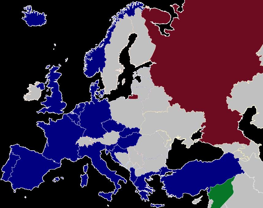 Situação após o fim da Guerra Fria. Em azul escuro, países da Otan. Azul claro, países que negociam entrada na Otan. Vermelho e verde, Rússia e Síria, respectivamente.