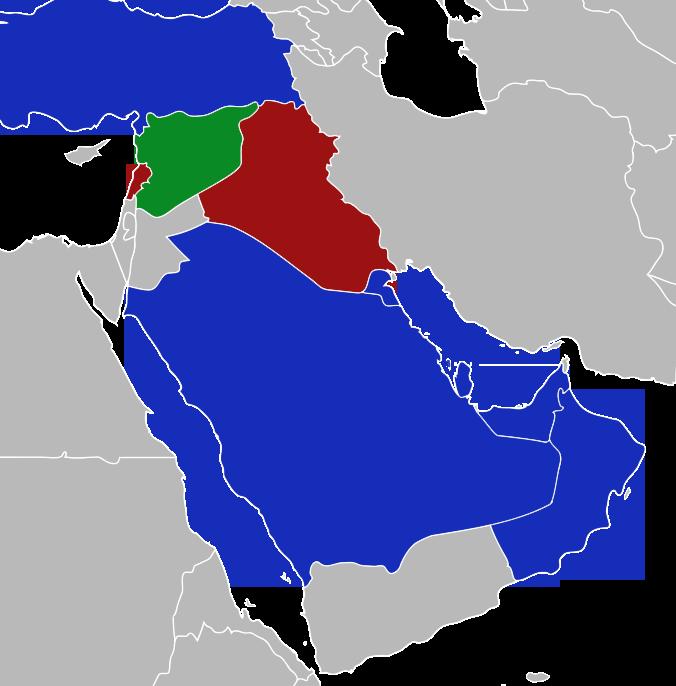 Em verde, a Síria. Em azul, países que reconhecem apenas a Coalizão. Em vermelho, países que lutaram ao lado das forças sírias contra mujahidin.