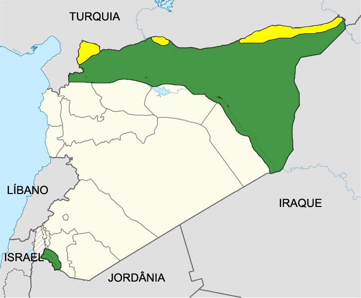 Em verde, áreas controladas pela oposição síria (Coalizão/Mujahidins), em amarelo, áreas controladas pelos curdos.
