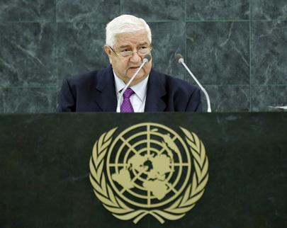 Walid Al-Moualem, Ministro das Relações Exteriores da Síria, na Assembleia Geral, 30 de Setembro UN Photo/Paulo Filgueiras