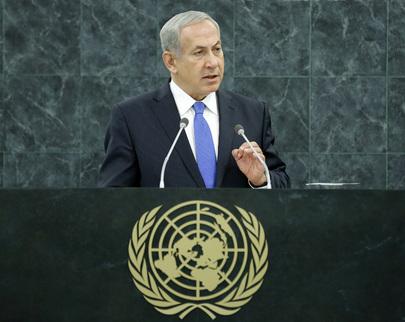 Benjamin Netanyahu, Primeiro-Ministro de Israel, no Debate da Assembleia Geral da ONU, Primeiro de Outubro de 2013 UN Photo/Evan Schneider