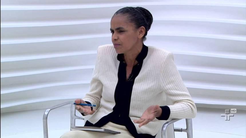Marina no último programa Roda Viva, da TV Cultura, exibido na noite de 21 de Outubro de 2013. Foto: Reprodução
