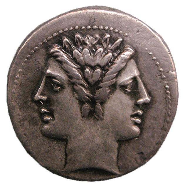 Dracma de prata romano datado de 225-12 a.C.  Fonte: Projeto VRoma