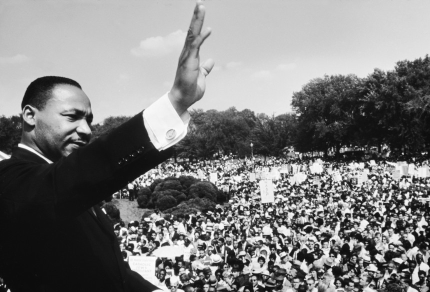 Dr. Martin Luther King Jr. addressing crowd of demonstrators outside the Lincoln Memorial during the March on Washington for Jobs and Freedom.