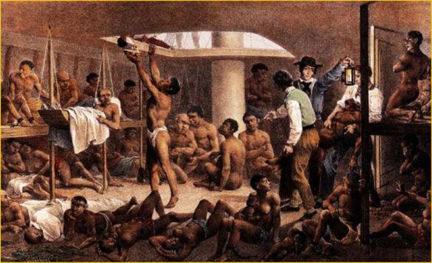 Conhecida obra de Rugendas, retratando o porão de navio negreiro