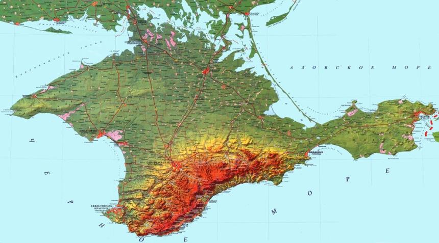 Mapa físico da península da Crimeia