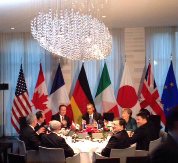 Líderes do G7 em reunião informal. Foto: Twitter do Ministério de Relações Exteriores da Alemanha