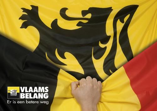 Propaganda do Interesse Flamengo, que remove a bandeira belga em prol da bandeira de Flandres