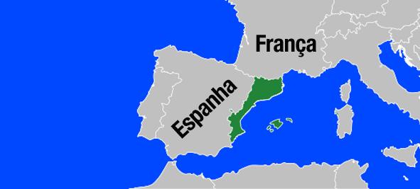 Em verde, a região dos Països Catalans