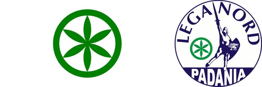 """A bandeira proposta da Padania, """"o Sol dos Alpes"""", e o símbolo da Lega Nord"""