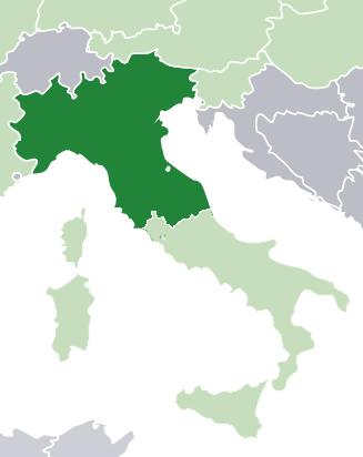 Representação da Padania proposta pela Lega Nord no mapa da Itália