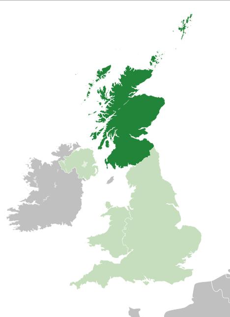 O Reino Unido, com a área correspondente a Escócia destacada.