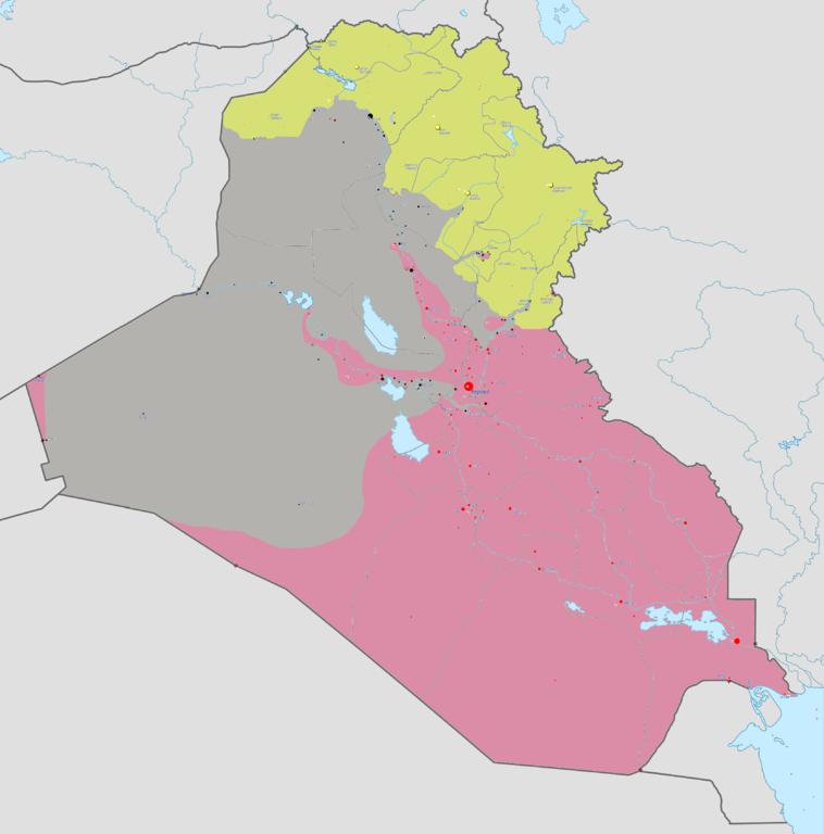 """Mapa do Iraque. Em amarelo, a região atualmente controlado por curdos. Em cinza, a região do """"califado"""" da ISIS"""