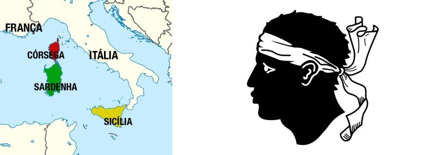 A localização da Córsega, entre a França, a Itália e a Sardenha. Ao lado, a bandeira da ilha.