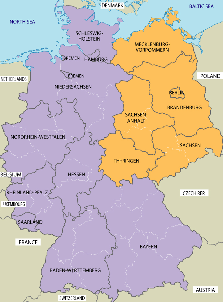 Mapa em inglês dos estados da República Federal da Alemanha; em laranja, os novos estados, que compunham a antiga República Democrática Alemã, RDA.