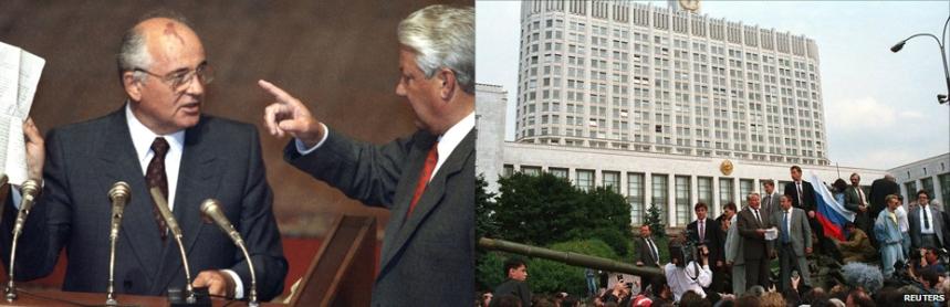 Esquerda: Boris Yeltsin confronta Gorbachev publicamente. Direita: Yeltsin discursa em cima de um tanque, em frente ao Parlamento, em resistência ao Golpe de Agosto de 1991