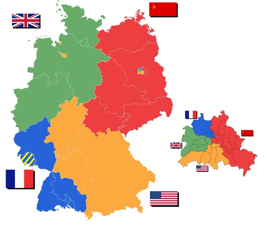 Na esquerda, as zonas de ocupação da Alemanha. Na direita, a reprodução dessa ocupação dentro de Berlim.