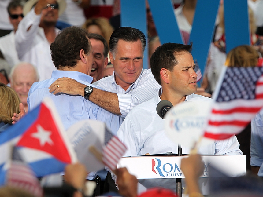 Evento do candidato republicano recém-derrotado, Mitt Romney, com o senador da Flórida Marco Rubio, representante dos cubanos republicanos.