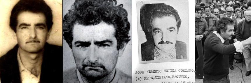 """Colagem de fotos atribuídas como de """"Pepe"""" Mujica. Da esquerda para a direita: no início dos Tupamaro, segunda metade da década de 1960; foto para um registro policial no início da ditadura, início dos anos 1970; foto em cartaz da ditadura com lista de """"codinomes"""", final dos anos 1970; em evento político após a reabertura política, segunda metade dos anos 1980."""