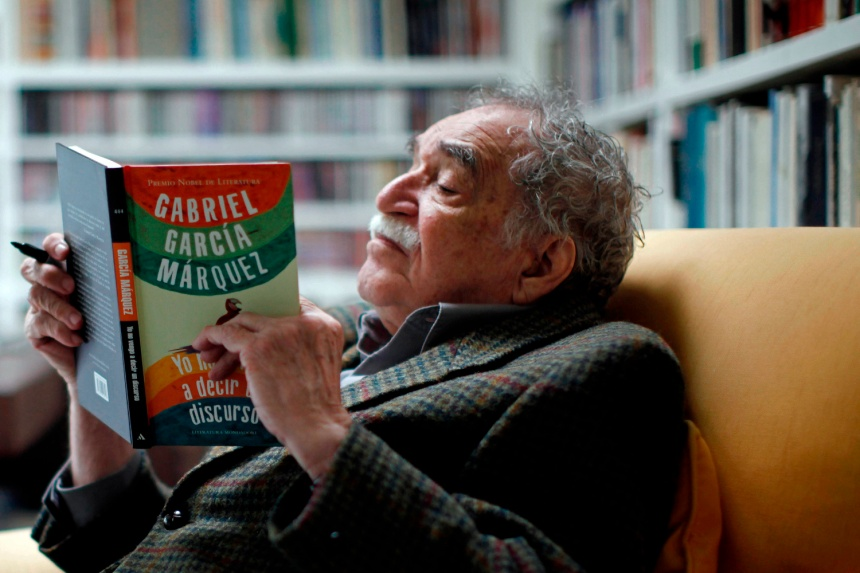"Writter Gabriel Garcia Marquez reads his latest book, titled ""I Didn't Come Here to Make a Speech"", at his home in Mexico City, Monday, Nov. 1, 2010."