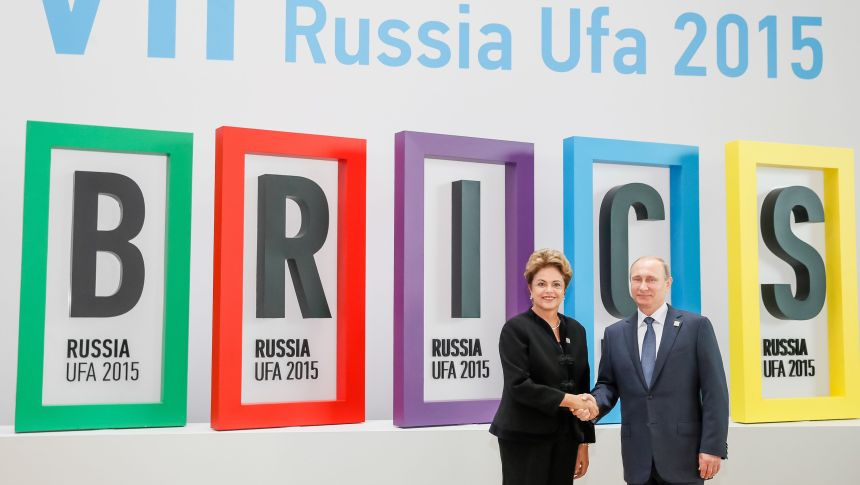A presidenta Dilma Roussef e o presidente russo Vladimir Putin