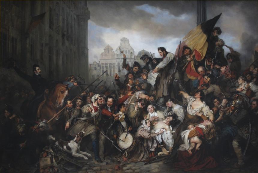 Ilustrando o post, o quadro Cena dos dias de setembro de 1830, de Gustaf Wappers