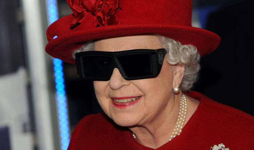 SHEFFIELD, UNITED KINGDOM - NOVEMBER 18: Britain's Queen Elizabeth II wearing 3D glasses to watch a display and pilot a JCB digger during a visit to the University of Sheffield Advanced Manufacturing Research centre on November 18, 2010 in Sheffield, England. IMAGE SUPPLIED BY MICHAEL DUNLEA / BARCROFT MEDIA LTD UK Office, London. T +44 845 370 2233 W www.barcroftmedia.com USA Office, New York City. T +1 212 564 8159 W www.barcroftusa.com Indian Office, Delhi. T +91 114 653 2118 W www.barcroftindia.com Australasian & Pacific Rim Office, Melbourne. E info@barcroftpacific.com T +613 9510 3188 or +613 9510 0688 W www.barcroftpacific.com Barcroft / Reporters