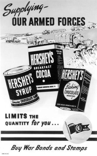 Pôster da Hershey's do período da guerra