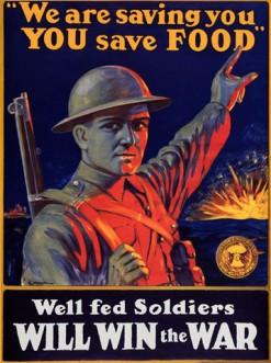"""""""Nós estamos salvando você, guarde comida. Soldados bem-alimentados vencerão a guerra"""""""