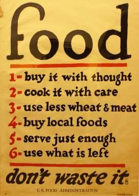 Instruções inglesas de como lidar com alimento