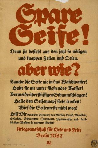 Cartaz alemão que ensina o racionamento de sabão e de óleo