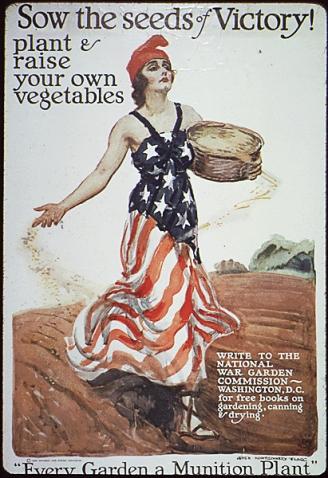 """Cartaz dos EUA que incentiva o plantio doméstico de alimentos. """"Cada jardim é uma fábrica de munição"""""""