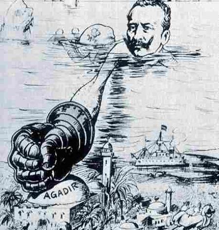 """Caricatura da época sobre a Crise de Agadir, com o """"punho de ferro"""" do Kaiser alemão"""